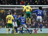 Norwich's Kei Kamara equalises against Everton on February 23, 2013