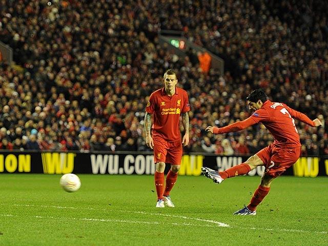 Liverpool's Luis Suarez scores the equaliser against Zenit St Petersburg on February 21, 2013
