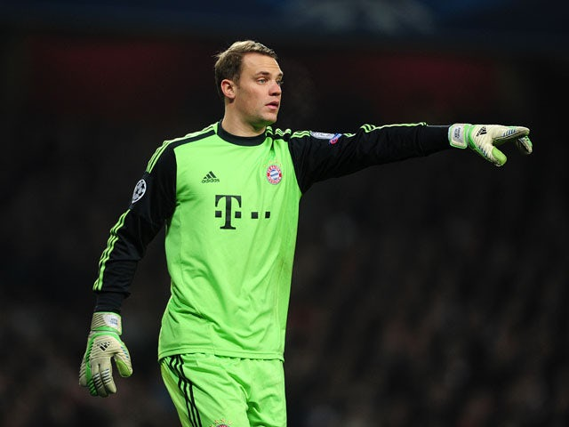 Bayern Munich goalkeeper Manuel Neuer during his side's game against Arsenal on February 19, 2013