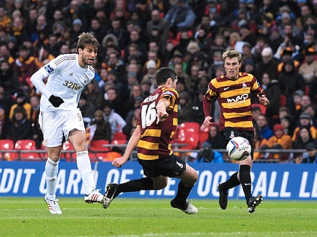 Swansea striker Michu scores the second goal against Bradford on February 24, 2013