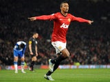United winger Nani celebrates opening the scoring against Reading on February 18, 2013