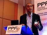 Paul Elliot speaks at the Professional Players Federation conference on October 4, 2010