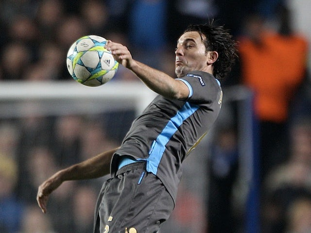 Napoli's Salvatore Aronica in action against Chelsea on March 14, 2012