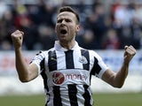 Newcastle midfielder Yohan Cabaye celebrates scoring a penalty against Southampton on February 24, 2013
