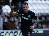 Celtic's Anthony Stokes celebrates after scoring his team's second in the Scottish Cup quarter final against St Mirren on March 2, 2013