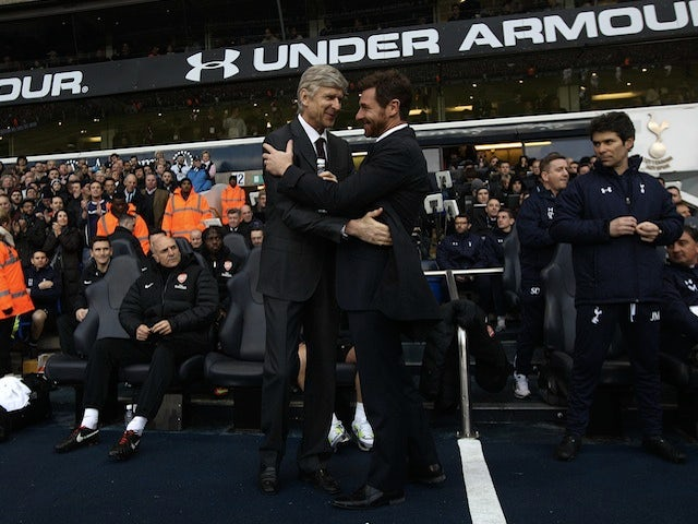 Opposing managers Arsene Wenger and Andre Villas-Boas shake hands before the North London Derby on March 3, 2013