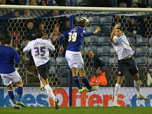 Leicester's Chris Wood heads in the opener against Blackburn on February 26, 2013
