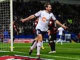 Craig Dawson celebrates scoring the opening goal against Peterborough on February 26, 2013