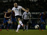 Derby County's Conor Sammon misses a penalty kick against Crystal Palace on March 1, 2013