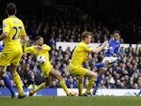 Everton's Steven Pienaar scores his side's second goal against Reading on March 2, 2013