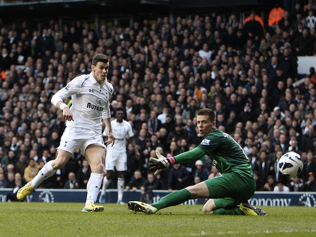 Spurs attacker Gareth Bale opens the scoring against Arsenal on March 3, 2013