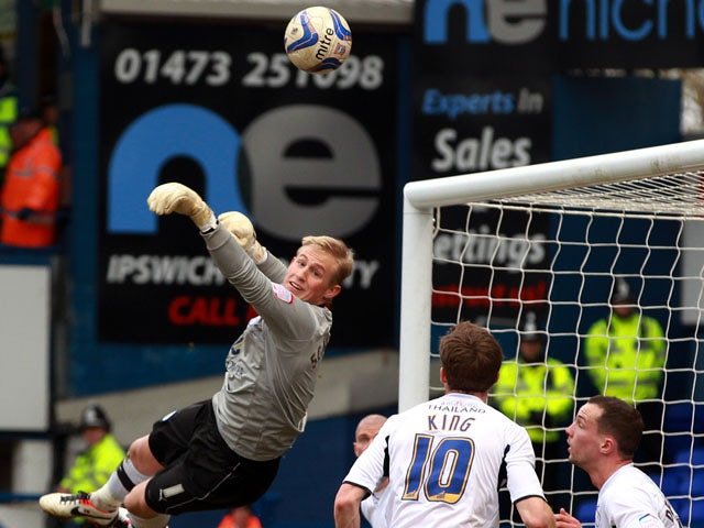 Leicester goalkeeper Kasper Schmeichel makes a save during his side's game against Ipswich on March 2, 2013