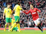 Manchester United's Shinji Kagawa celebrates scoring his second goal against Norwich on March 2, 2013