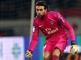 Paris Saint-Germain goalkeeper Salvatore Sirigu in action on February 8, 2013