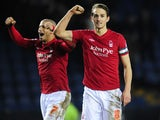 Nottingham Forest players celebrate their victory over Sheffield Wednesday on March 2, 2013