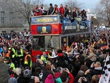 League Cup winners Swansea City parade the streets of Swansea on February 26, 2013