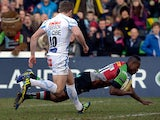 Harlequins' Ugo Monye scores the first try of the match against Exeter on March 2, 2013