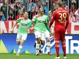 Duesseldorf's Matthias Bolly of Norway celebrates after scoring against Bayern Munch on March 9, 2013