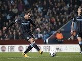 Man City striker Carlos Tevez opens the scoring against Aston Villa on March 4, 2013