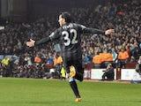 City's Carlos Tevez celebrates his goal against Aston Villa on March 4, 2013