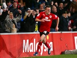 Cardiff's Craig Noone celebrates after scoring the equaliser against Derby on March 5, 2013