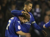 Birmingham's Curtis Davies celebrates with team mate Chris Burke after scoring the opener against Blackpool on March 5, 2013