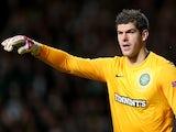 Celtic stopper Fraser Forster in action against Barcelona on November 7, 2012