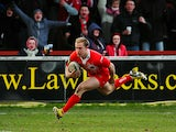 Salford City Reds' Jack Murphy runs clear to score a try against Wakefield Wildcats on March 10, 2013