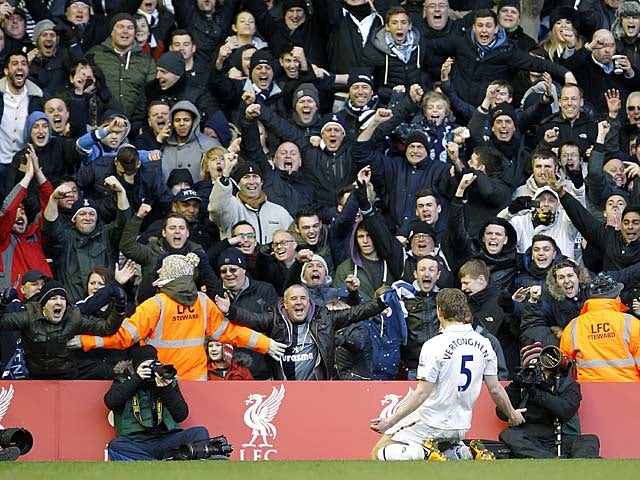 Jan Vertonghen celebrates in front of Spurs fans after scoring his second goal against Liverpool on March 10, 2013
