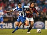 Deportivo La Coruna's Juan Carlos Valeron battles for the ball during a match on April 7, 2004