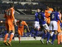 Blackpool's Kirk Broadfoot heads in the equaliser against Birmingham on March 5, 2013