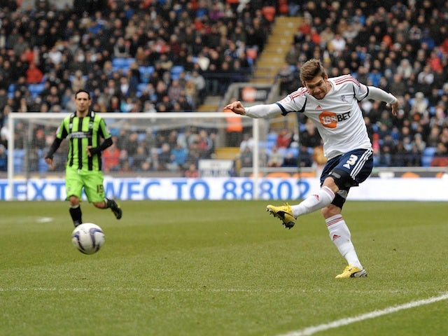 Bolton's Marcos Alonso opens the scoring against Brighton on March 9, 2013