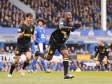 Wigan defender Maynor Figueroa celebrates making it 1-0 against Everton on March 9, 2013
