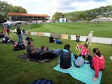 Fans arrive prior to the start of the first test between New Zealand and England at the University Oval on March 6, 2013
