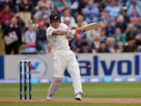 New Zealand captain Brendon McCullum hits his half century against England during the first test on March 8, 2013