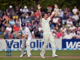 New Zealand's Tim Southee appeals for a wicket during the fifth day of the first test against England on March 9, 2013