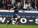 Paris Saint Germain's forward Zlatan Ibrahimovic celebrates scoring his second goal against Nancy on March 9, 2013