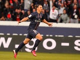 Paris Saint Germain's forward Zlatan Ibrahimovic celebrates scoring his second goal against Nancy on March 9, 2013