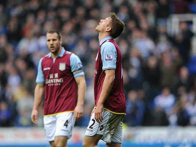 Aston Villa's Nathan Baker looks dejected after scoring an own goal during his side's clash with Reading on March 9, 2013