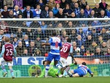 Aston Villa's Christian Benteke scores his side's first goal in their match against Reading on March 9, 2013