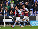 Aston Villa forward Gabriel Agbonlahor celebrates scoring his side's second goal against Reading on March 9, 2013