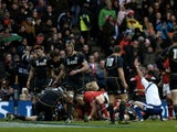 Wales' Richard Hibbard scores the first try against Scotland on March 9, 2013
