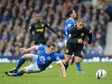 Wigan's Shaun Maloney skips past Everton's Seamus Coleman during the game on March 9, 2013
