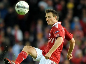 Denmark player William Kvist in action during his side's match against Portugal on October 11, 2011