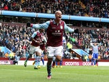 Aston Villa forward Gabriel Agbonlahor celebrates scoring for his side during their Premier League clash against QPR March 16, 2013