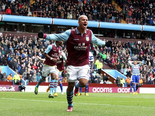 Aston Villa forward Gabriel Agbonlahor celebrates scoring for his side during their Premier League clash against QPR March 16, 2013