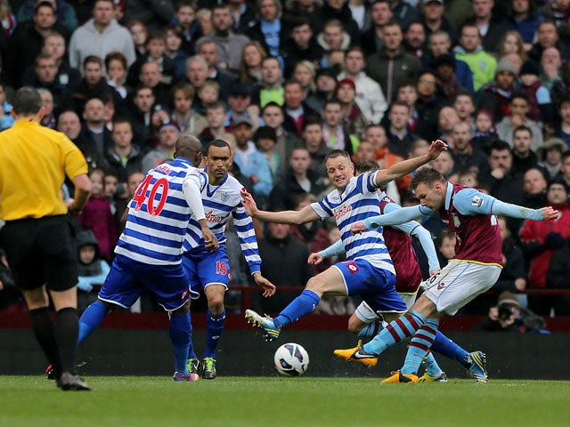Aston Villa's Andreas Weimann scores his side's second goal in their Premier League match with QPR on March 16, 2013