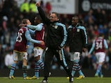 Aston Villa manager Paul Lambert celebrates after his team's win over QPR on March 16, 2013