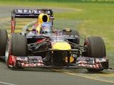 Red Bull driver Sebastian Vettel enters turn two during qualifiying for the Australian Grand Prix on March 17, 2013