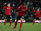 Cardiff City's Rudy Gestede celebrates scoring the equalising goal in his side's match with Leicester city on March 12, 2013